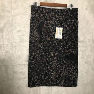 LuLaRoe Cassie L Skirt NWT Floral Purple/Brown